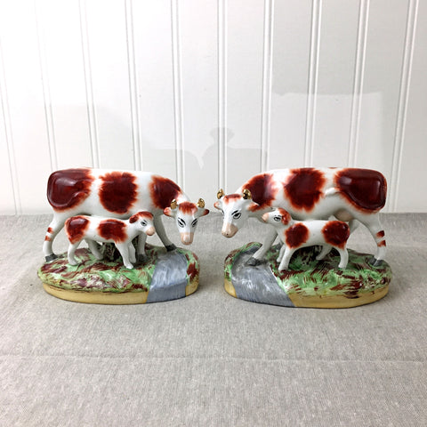 Staffordshire Ware cow and calf pair - William Kent - 1920s vintage