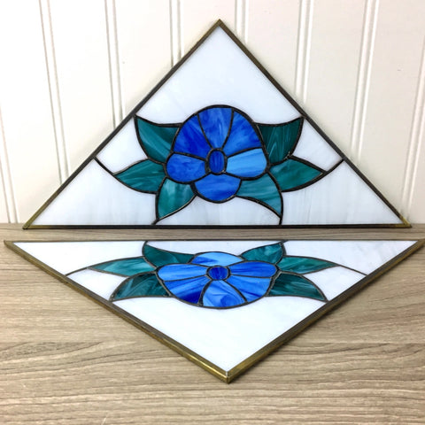 Blue flower stained glass triangles - a pair - vintage artisan glass - NextStage Vintage