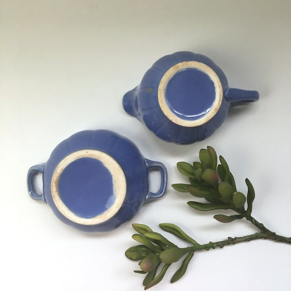 Stangl Colonial blue creamer and open sugar bowl - vintage china 1930s - NextStage Vintage