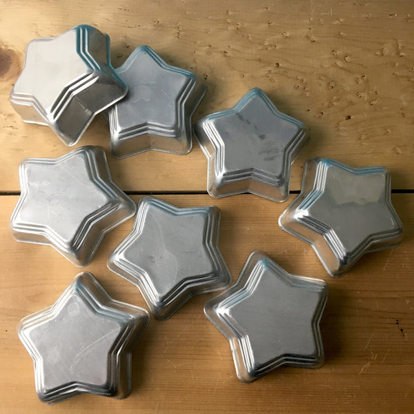 Miniature star shaped aluminum molds - set of 8 - for desserts or favors - NextStage Vintage