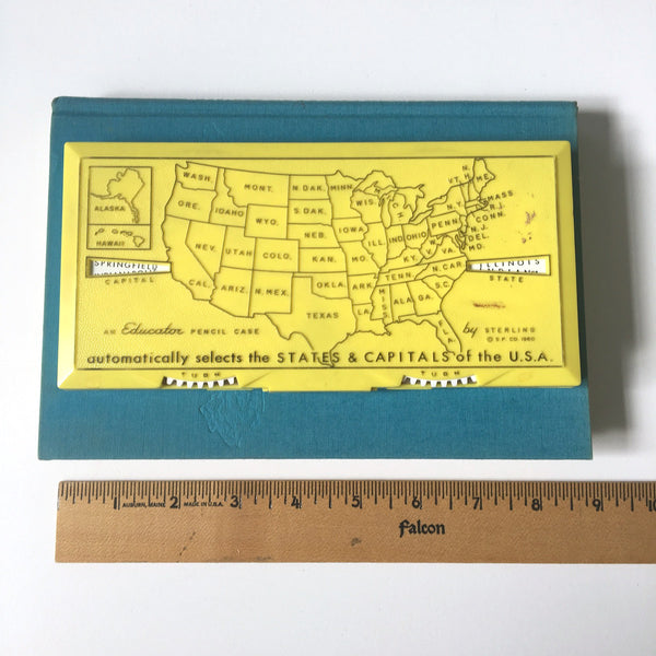 Educator state capital plastic pencil case - Sterling Products - 1960s vintage - NextStage Vintage