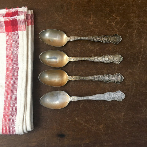 New England state teaspoons - set of 4 - Wallace silver plate - vintage flatware - NextStage Vintage