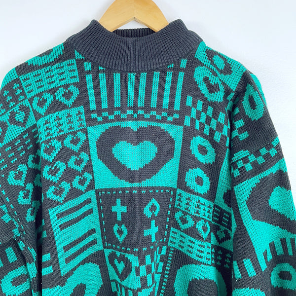 1980s acrylic black and jade patterned sweater by Stefano International -  size L - NextStage Vintage