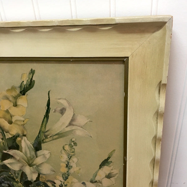 Floral still life print - decorative antiqued frame and art by Ann Cochran - cottage charm 1950s - NextStage Vintage