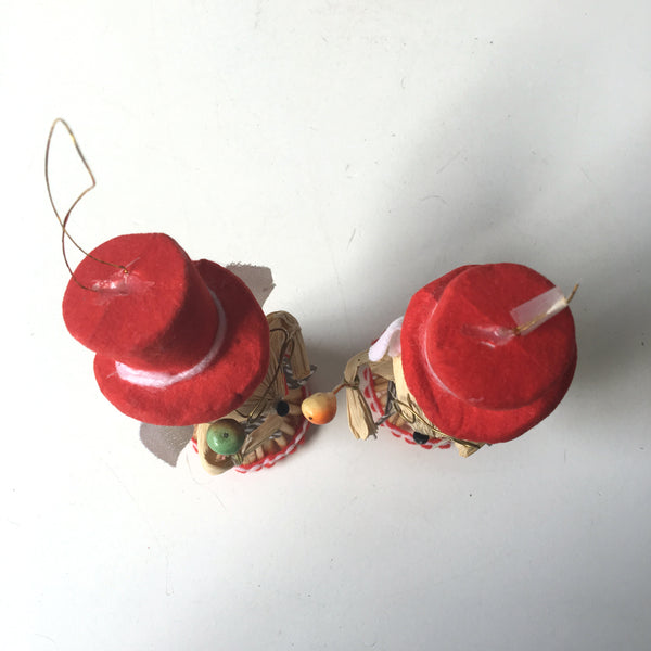 Straw mouse Christmas ornaments - 1980s vintage pair - NextStage Vintage