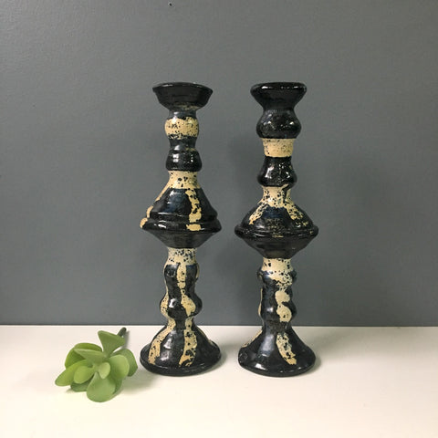 Studio art pottery candlesticks with chop mark - vintage 1970s stoneware - NextStage Vintage