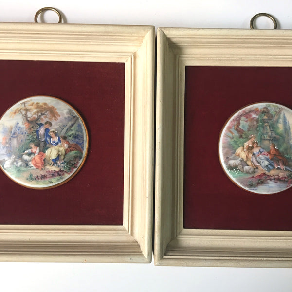 Sungott Art Studios romantic art - framed pair - 1950s decor - NextStage Vintage
