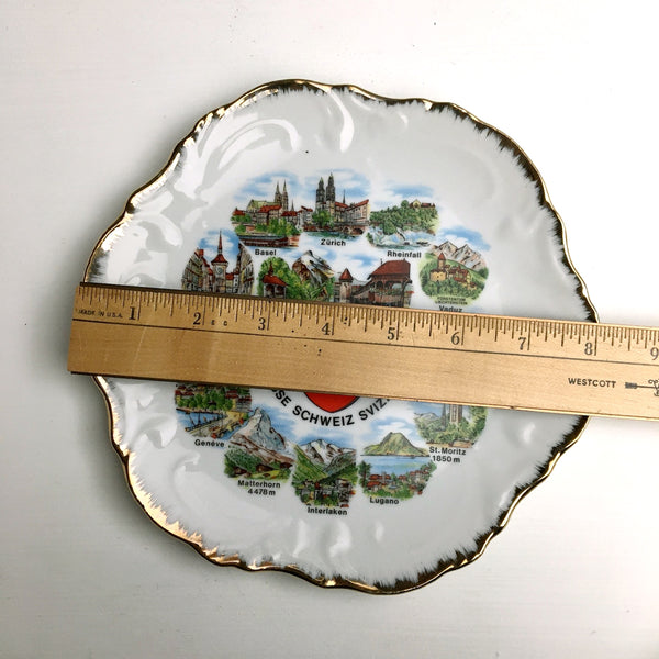 Switzerland travel souvenir plate - cities and landmarks - vintage travel