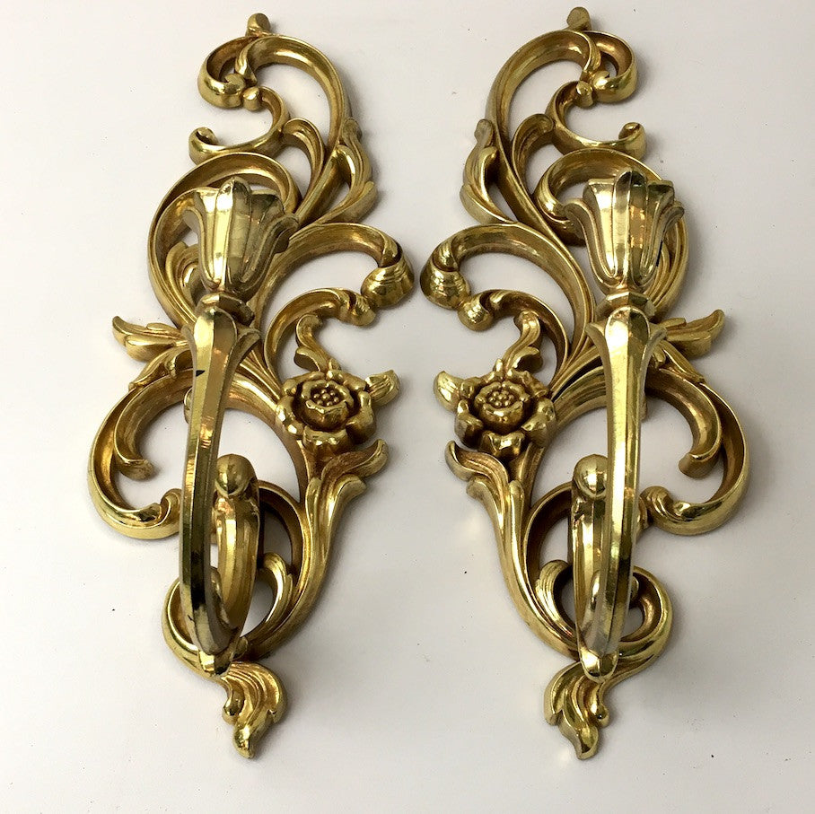 Syroco gold wall sconces - pair of floral scroll candleholders - #4531 - NextStage Vintage