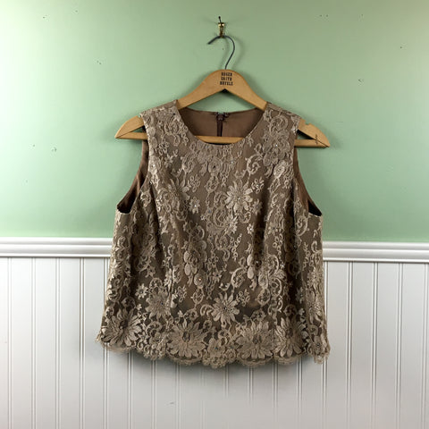 Sleeveless lace and rhinestone top - size small - 1990s vintage