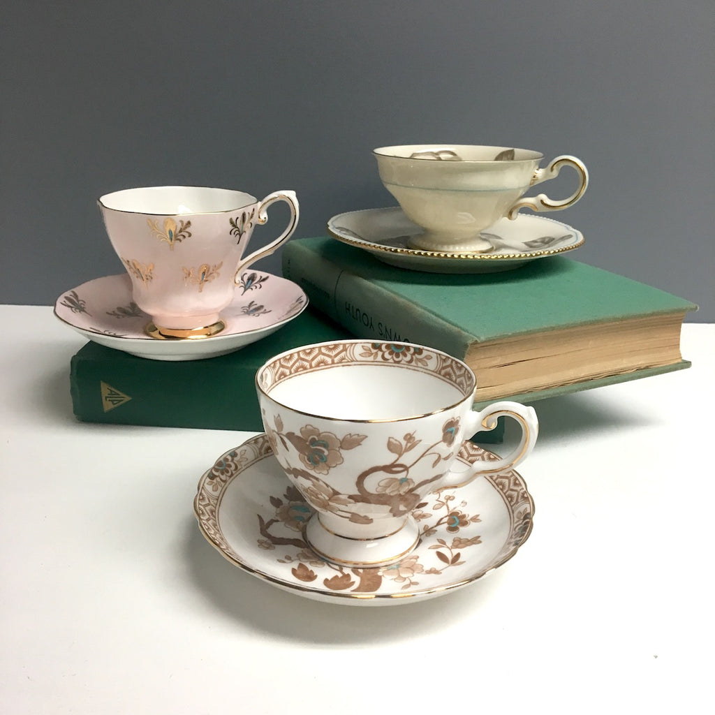 Bone china tea cup trio - Tuscan, Castleton, Royal Grafton - 1960s vintage - NextStage Vintage