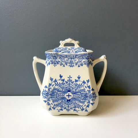 Ridgways Tournay transferware tea caddy - antique blue and white teatime necessity