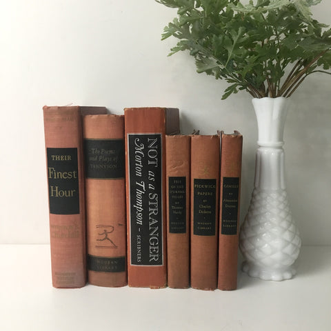 Decorative book stack - shades of terra cotta - vintage book decor - NextStage Vintage