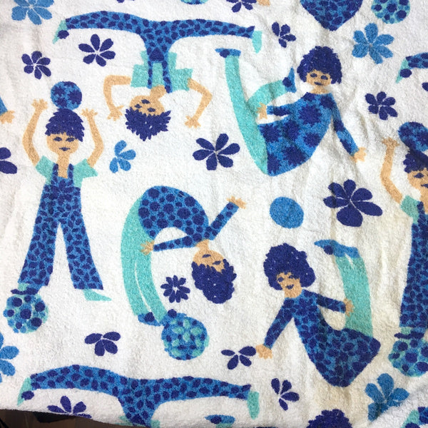 Vintage terrycloth fabric - 3 yds - mod boy and girl print - 2 color ways - 1960s - NextStage Vintage