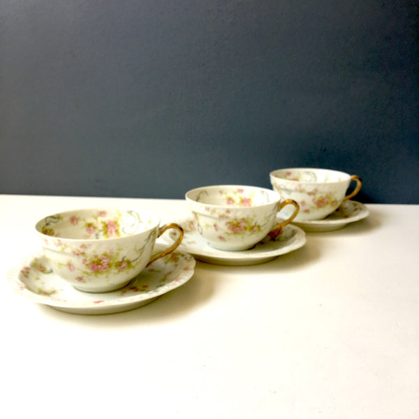 Havilland Limoges The Princess teacups and saucers - set of 3 - vintage floral china - NextStage Vintage