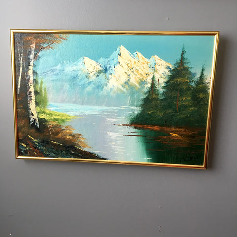 Mountain lake landscape painting by Lin Lu Thile - vintage 1970s art