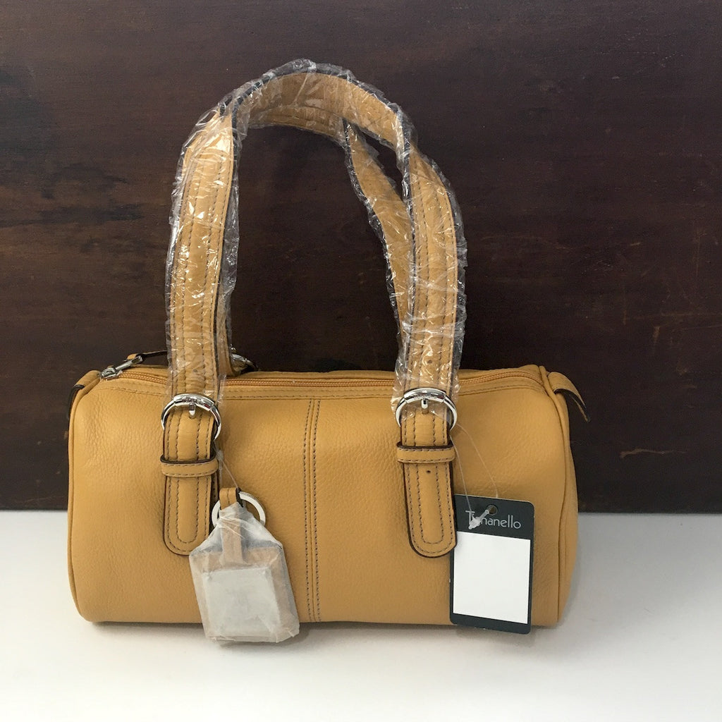 Tignanello pebbled leather satchel handbag - top zipper - buckskin tan - NWT - NextStage Vintage