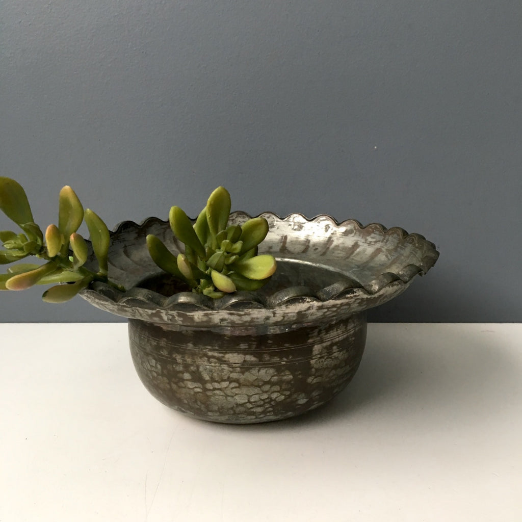 Tinned copper bowl or planter - bohemian vintage