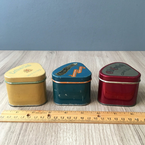 Triangle tobacco tins - Allen and Ginter's, Carlton Club and Old English - 3 vintage tobacciana - NextStage Vintage