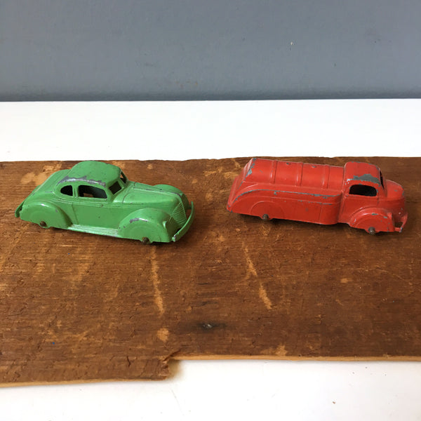 Tootsietoy car #231 and red tank truck - vintage die cast metal toys