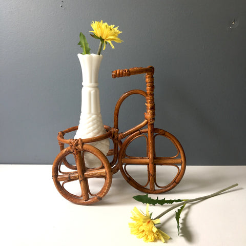 Rattan tricycle plant pot holder - decorative miniature - 1970s vintage - NextStage Vintage