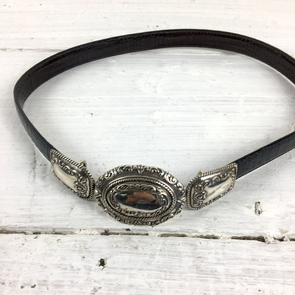Black/brown reversible skinny leather belt with concho-style clasp - vintage accessory - NextStage Vintage
