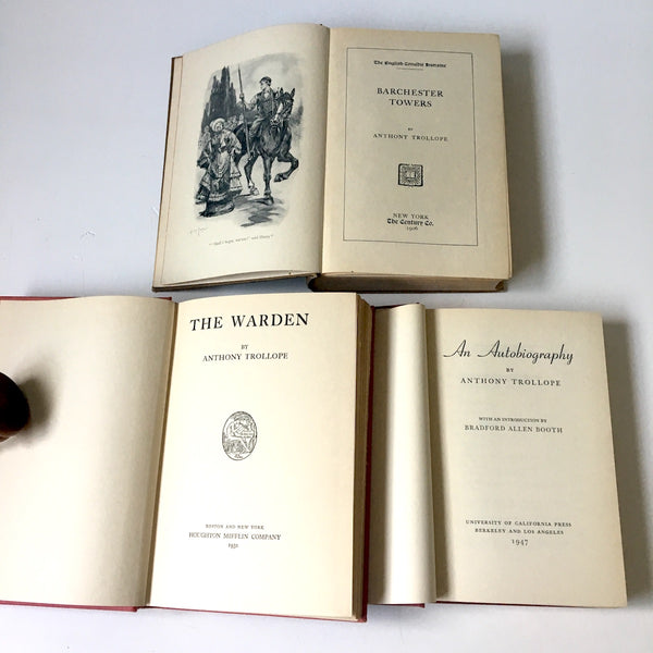 Anthony Trollope books - set of 3 - An Autobiography, The Warden, Barchester Towers - vintage British literature - NextStage Vintage