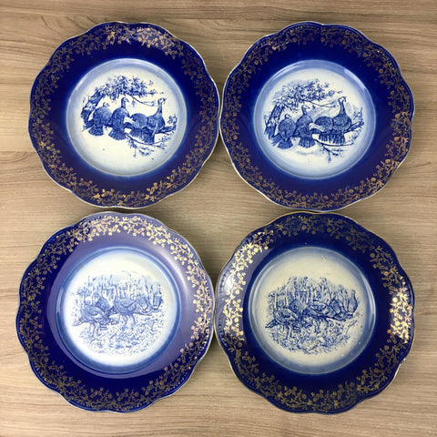 French transferware flow blue turkey plates - antique set of 4