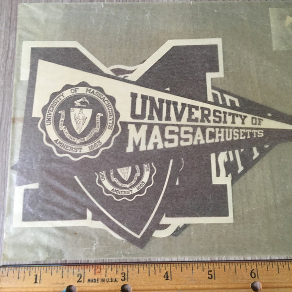 University of Massachusetts baggage stickers sealed in original package - vintage college ephemera