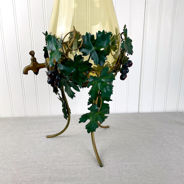 Italian blown glass wine decanter in a grapevine tole stand - mid century vintage - NextStage Vintage