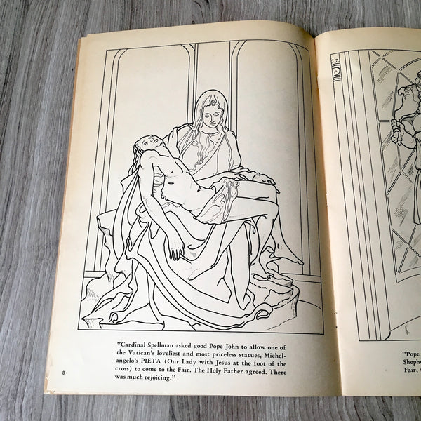 A Visit to the Vatican Pavilion at the New York World's Fair coloring book - 1964 vintage - NextStage Vintage