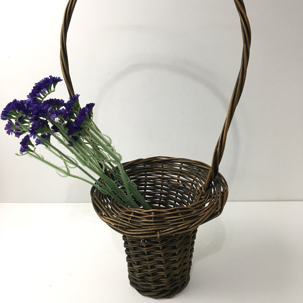 Victorian wicker flower basket - long handle - flared rim - NextStage Vintage