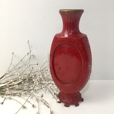 Victorian metal and glass urn - red painted decor - 1896 - NextStage Vintage