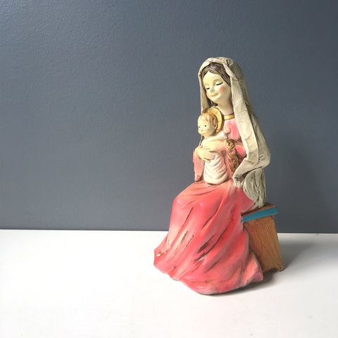Mother Mary and Baby Jesus paper mache figurine - 1960s vintage - NextStage Vintage