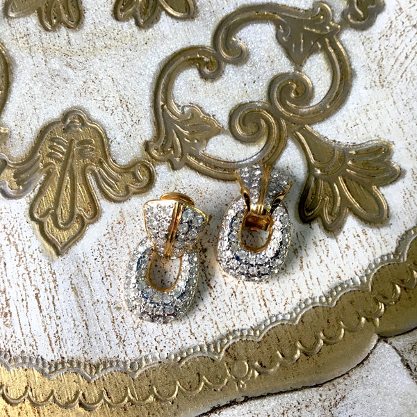 Vogue Bijoux pave rhinestone gold clip earrings - 1980s vintage - NextStage Vintage