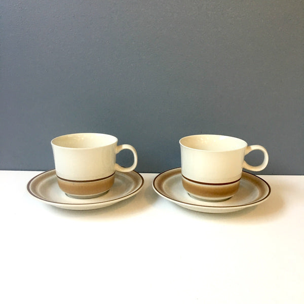 Water Colors Hearthside cup and saucers - set of 2 - brown 1970s - NextStage Vintage