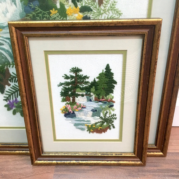 Waterfall and woods framed crewel needlework - set of three framed hand stitched works - 1970s - NextStage Vintage