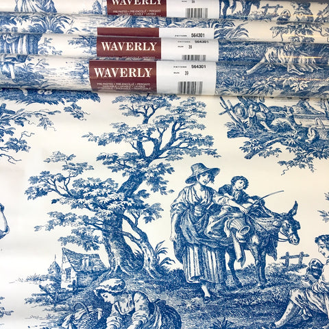 Waverly blue toile pre-pasted wallpaper - 4 rolls - Pattern 56301 - NextStage Vintage