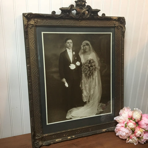 Antique sepia wedding portrait - framed turn of century bride and groom ensemble - 1900s - NextStage Vintage