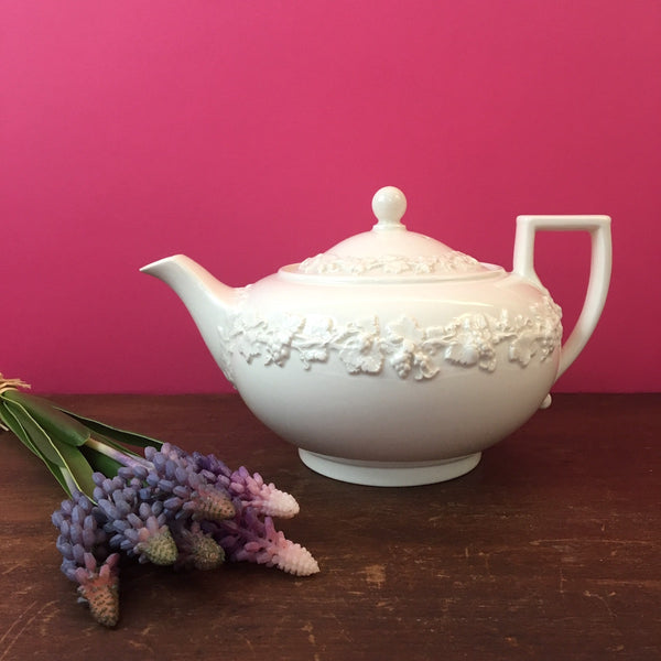 Wedgwood of Etruria and Barlaston embossed Queen's Ware small teapot - cream grapes on cream 1960s - NextStage Vintage