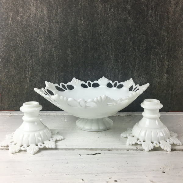Ring and Petal Westmoreland milk glass fruit bowl and candlesticks - 1950s vintage - NextStage Vintage