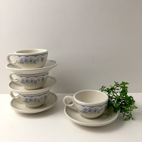 Homer Laughlin restaurant ware cup and saucers - set of 4 - Williamsburg (MA) Inn pattern - NextStage Vintage