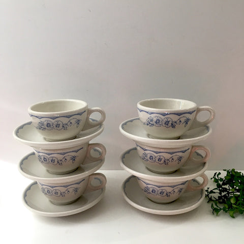 Homer Laughlin restaurant ware cup and saucers - set of 6 - Williamsburg (MA) Inn pattern - NextStage Vintage