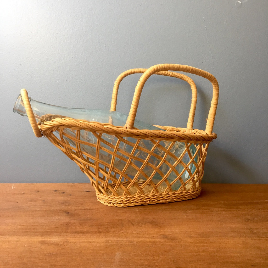 Wicker serving basket - 1970s vintage dining table accessory - NextStage Vintage