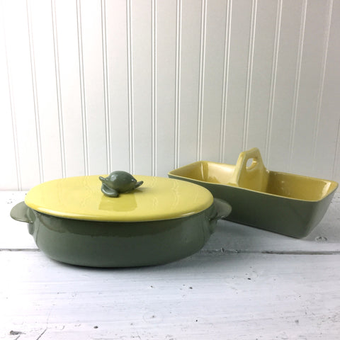 Gabriel Winfield Pasadena pottery casserole and double server - chartreuse and sage - vintage American pottery - NextStage Vintage