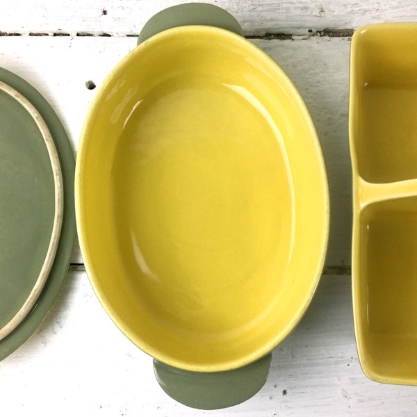 Gabriel Winfield Pasadena pottery casserole and double server - chartreuse and sage - vintage American pottery