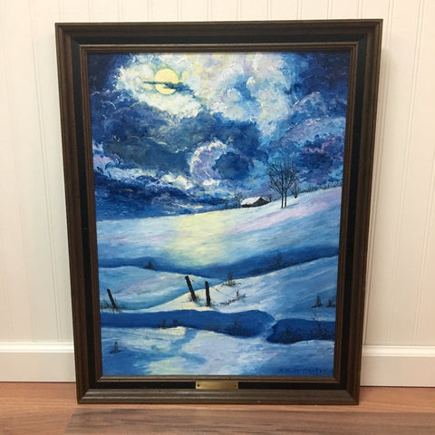 Winter Night landscape painting - acrylic on canvas board - 1970s - NextStage Vintage