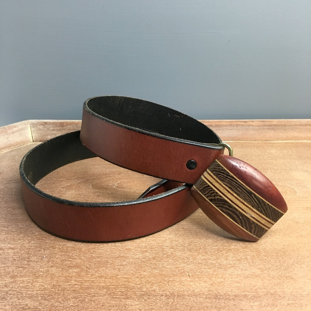 Leather belt with laminated wood buckle - 1980s mens vintage accessory - NextStage Vintage