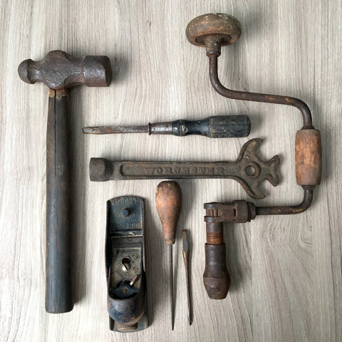 Antique and vintage tools - hammer, drill, Stanley plane and more