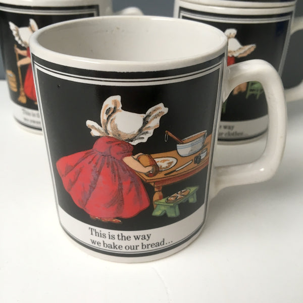 Mulberry bush nursery rhyme mugs - set of 4 - 1970s vintage - NextStage Vintage